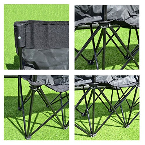Benefitusa 4 Seater Sideline Portable Folding Team Sports Bench Sits Outdoor Waterproof Black