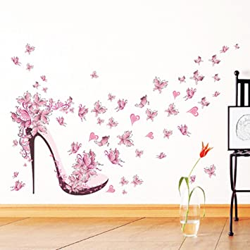 Pink Butterfly High Heels Wall Art Sticker Door Stairs Living Room Bedroom  Decor Woman Teenager Baby Part 49