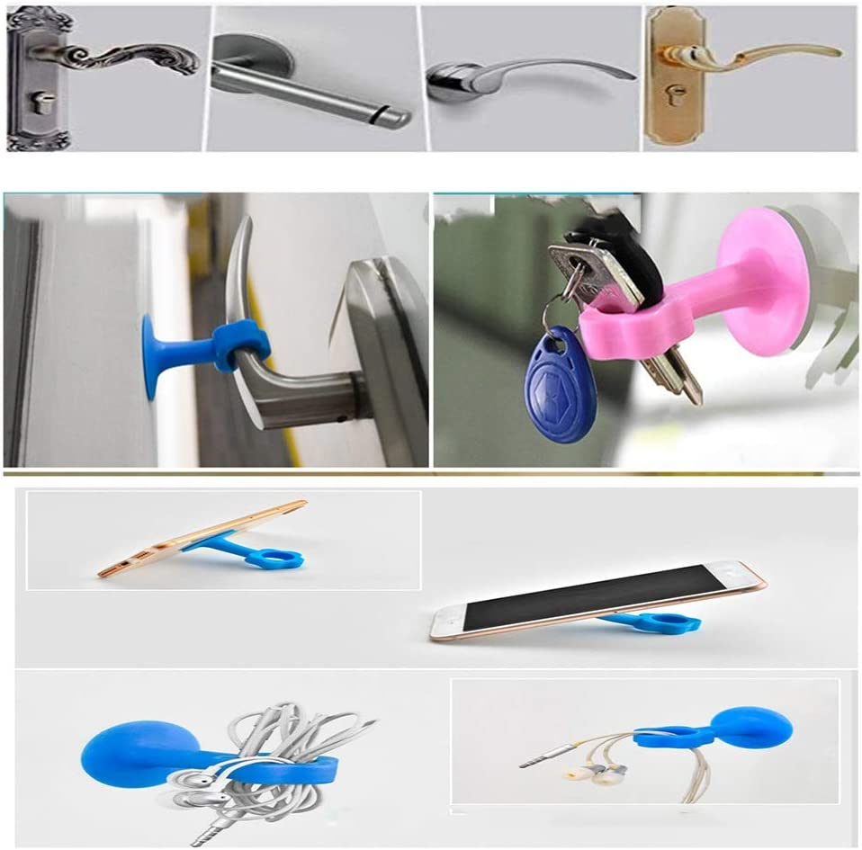 Guoguocy Door Stops Door Stop,Silicone Door Suction,Kitchen Buffer Stickers,Rubber Door Touch Door Top Handle Anti-Collision Pad,Blue Color : A, Size : 5 PCS