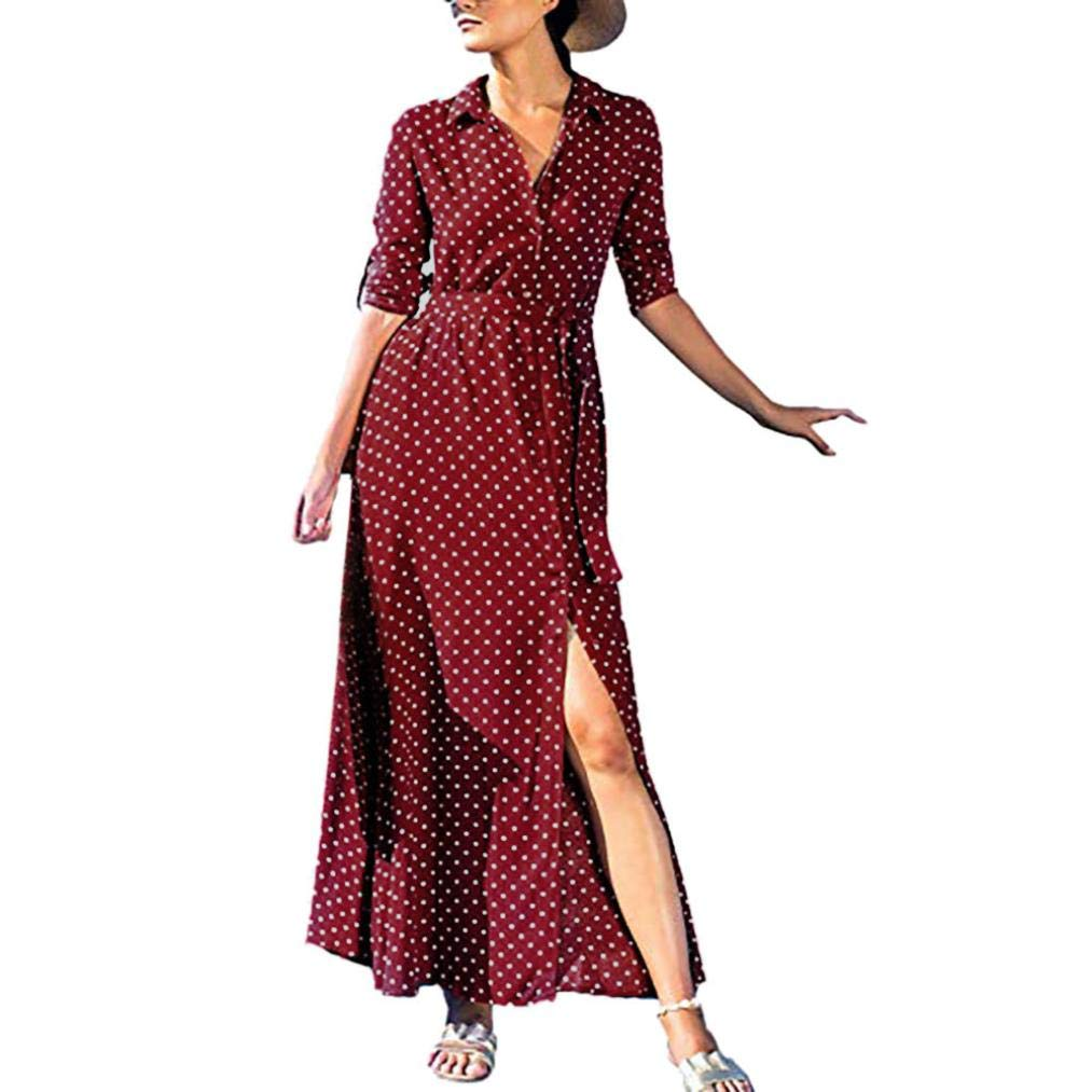 Joint Clearance Women Boho Dress Ladies Casual Polka Dot Roll up Sleeve Button Down Flowy Shirt Maxi Dress Pockets (X-Large, Red)