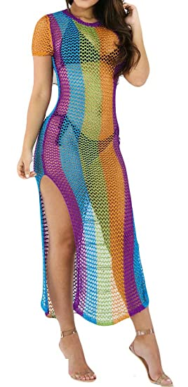 72874acaae Etecredpow Women Rainbow Beach Hollow Out Stripe Print Sexy Cover Up Dress  Blue XS
