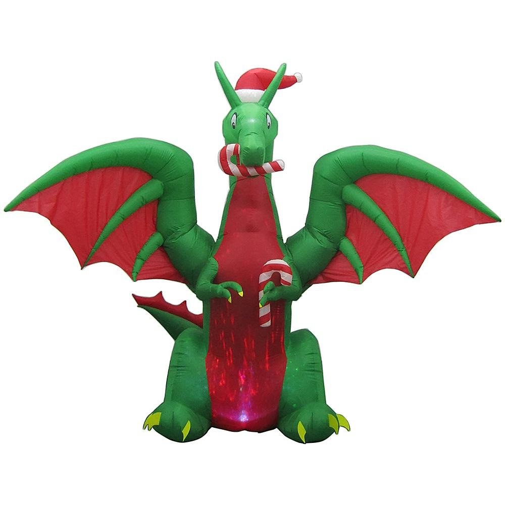 Home Accents Christmas Decoration Animated Inflatable Kaleidoscope Dragon with Santa Hat 12 ft.