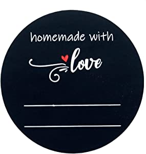 Homemade With Love Stickers Labels - Removable Handmade With Love Stickers for Small Business With Lines for Writing - Canning Jar Labels - Permanent White Marker Included (2