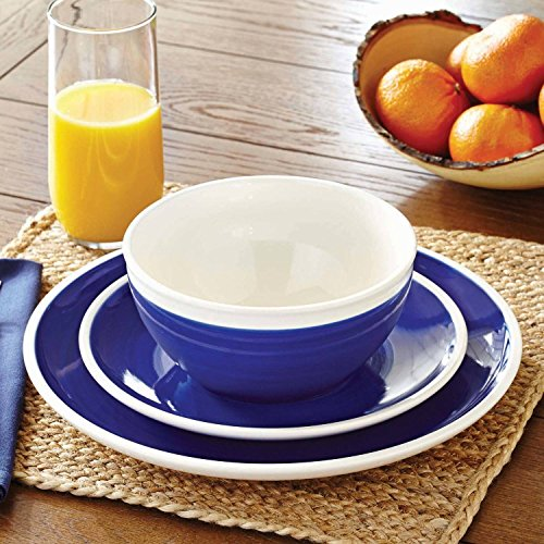 Indigo Swirl 12-Piece Dinnerware Set, Blue