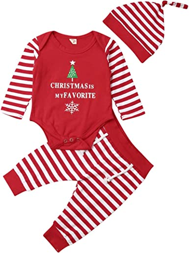 3Pcs Baby Boy Girls Christmas Rompers Outfits Long Sleeve Bodysuit Pants Set