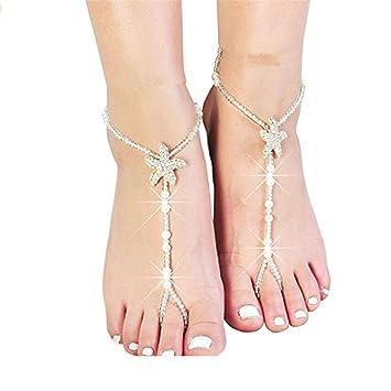 Fulltime(TM) Womens Beach Imitation Pearl Barefoot Sandal Foot Jewelry Anklet Chain Az42nChjgG