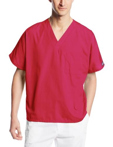 - Cherokee Workwear Scrubs Unisex V-neck Tunic Top, Raspberry, Medium
