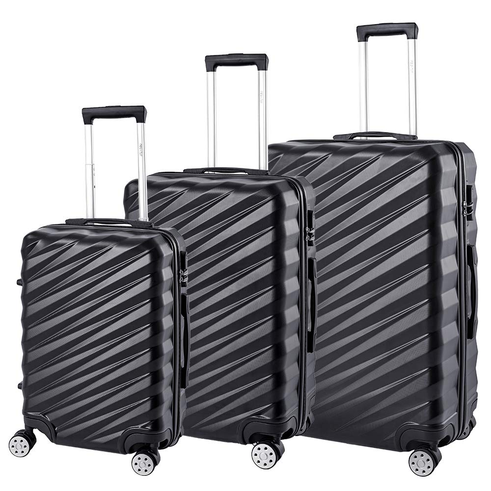 Newtour Luggage Sets 3 Piece Suitcase with Spinner Wheels Hardshell Lightweight luggage Travel 20in 24in 28in (Black) by Newtour