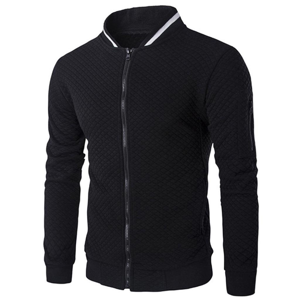 Winter Autumn Mens' Motorcycle Jacket Long Sleeve Bomber Jacket Zipper Sweatshirt Coat Outwear (Black, S)