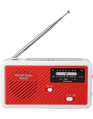 Bewinner Mini Alta Sensibilidad Am/FM Solar Radio Manivela, Banda Dual Multifunción Radio de