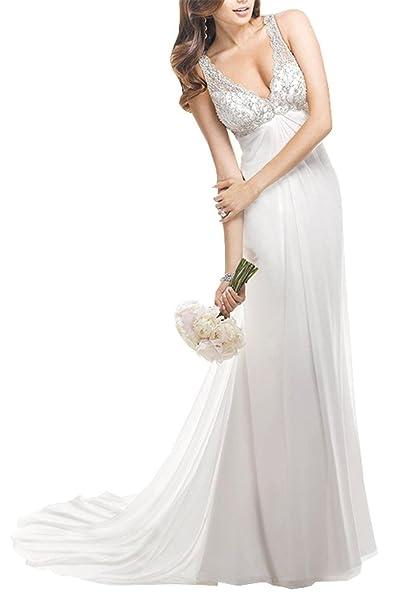 Engerla mujer de Gasa Profundo Cuello En V De Pecho Empire Sheer espalda Shirred Caderas sirena corte tren vestido de novia: Amazon.es: Ropa y accesorios