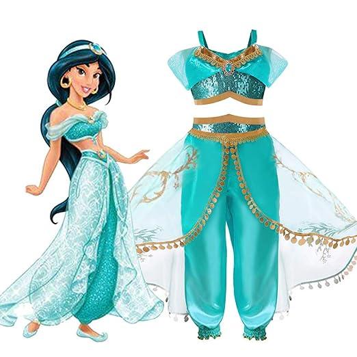 9a44e8e0b Amazon.com: Adult Kid Girls Halloween Christmas Dress Up Cosplay Costumes  Little Girls Princess Pents Set Fancy Dress Jasmine Costume: Clothing
