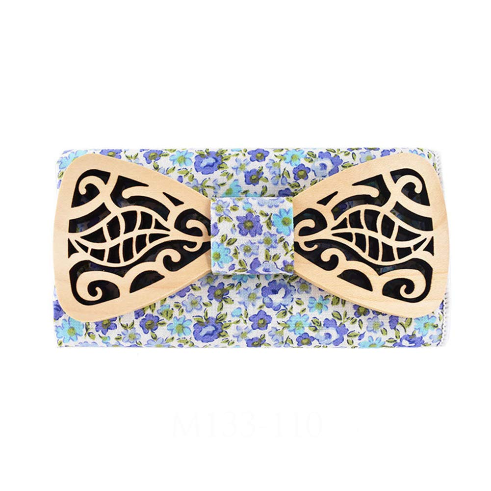 JAJAFOOK Wooden Bow Tie Wedding Bowtie Matching Pocket Square Business Handmade Adjustable with Gift Box