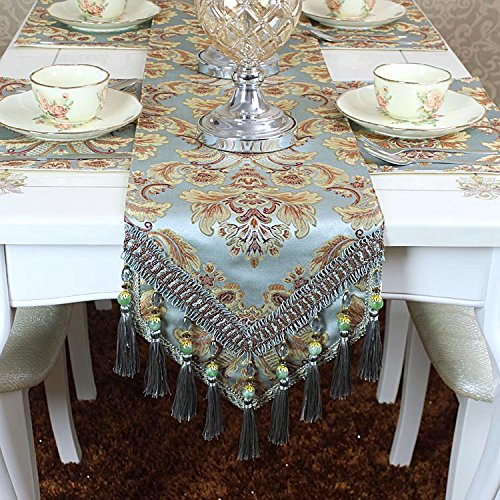 Ethomes Modern Jacquard Floral Table Runner for Dinning/Tea/TV Table with Handmade Tassel Embroidered multi-tassels Sky Blue 72 inch approx