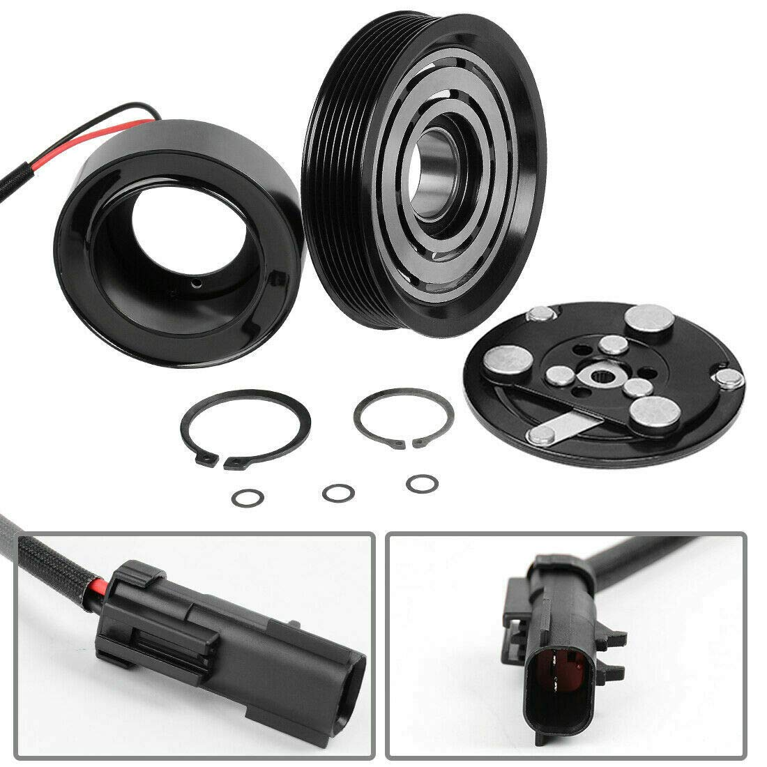 2003 Dodge Ram 1500 8 CYL 4.7L 7 Groove SD7H15 PULLEY, COIL, BEARING, PLATE AC COMPRESSOR CLUTCH KIT FITS