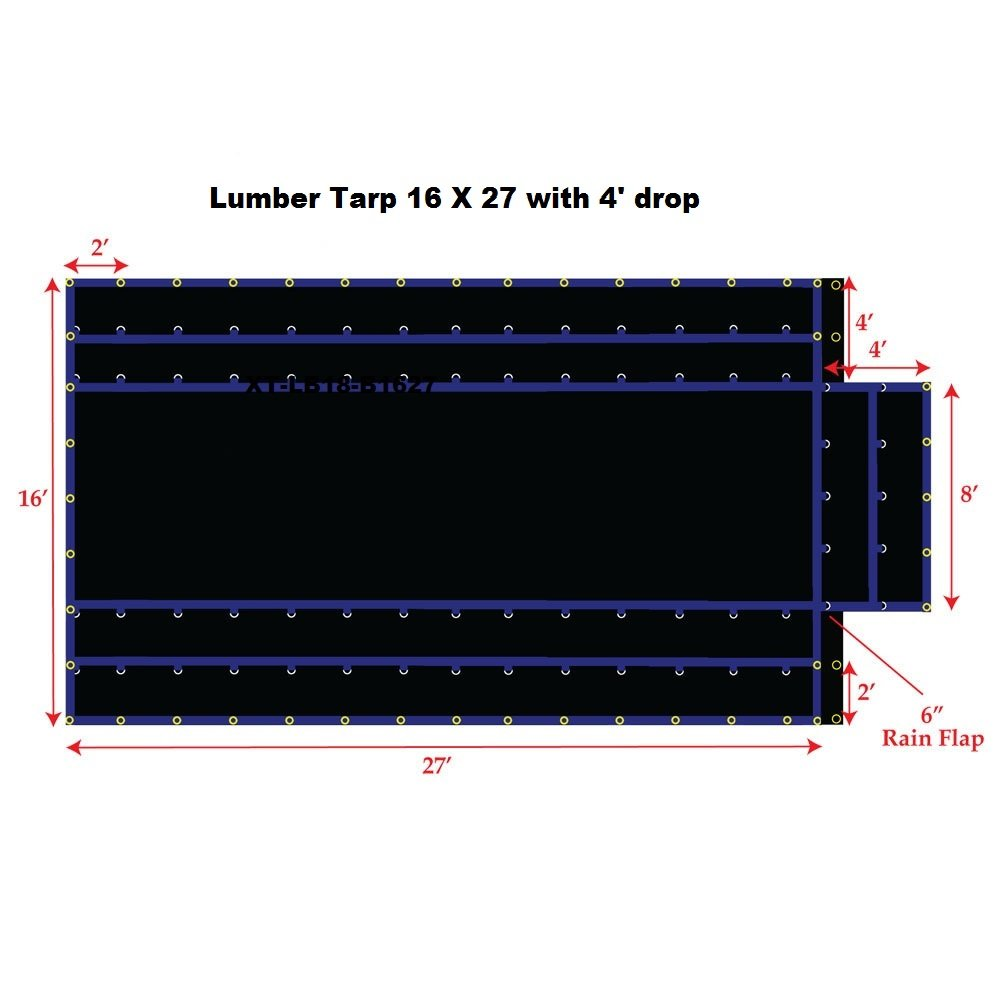 Xtarps-16' x 27' Flatbed Truck Tarp - Light Weight Lumber Tarp with 4' Drop, Black by XTARPS