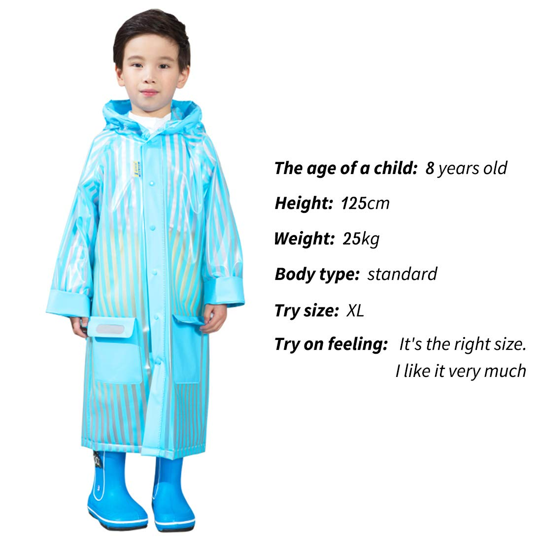 WITERY Rain Poncho Coat for Girls Boys Age 5-12 Waterproof Inflatable Hooded with School Bag Cover Side Pockets Safe Reflective Tape for Safe in Heavy Rainy Days