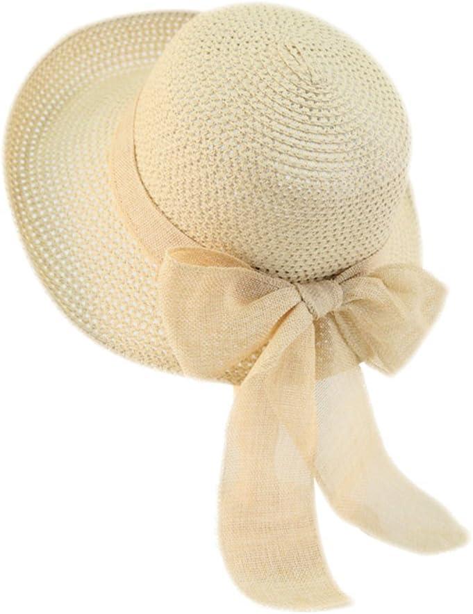CAOLATOR Damen Strohhut Breite Krempe Sonnenhut Mit Brand Sommer Strand Hut UV Schutz Schlapphut f/ür Outdoor-Aktivit/äten Khaki