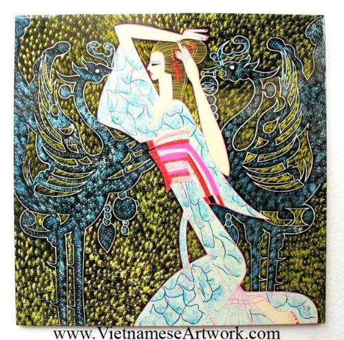 """Vietnamese Lacquer Paintings - 16"""" x 16"""" CSB108"""
