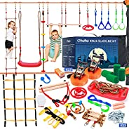 Ninja Warrior Obstacle Course for Kids - Ohuhu Ninja Slackline 50ft with 12 Accessories for Kids, Includes Swi
