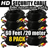 BNC cable camera power cord and video extension 60ft by ventech cctv supply security wire ( 8 pack ) bnc-bnc connector 60 feet surveillance support all: Analog, hd, AHD, 720p, 960p, 960h, cvi, tvi