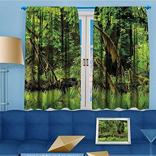 Mikihome Flower Design Foil Printed Grommet Thermal Insulated Window Panels Trees Moss Paradise Silence in The Wild Relaxation Green Kidsroom, 72