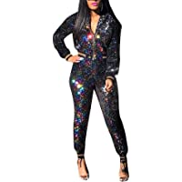 ECHOINE Womens Sexy Sequin Party Clubwear 2 Piece Outfit Set Slim Fit Tracksuit Party Metallic Black XL