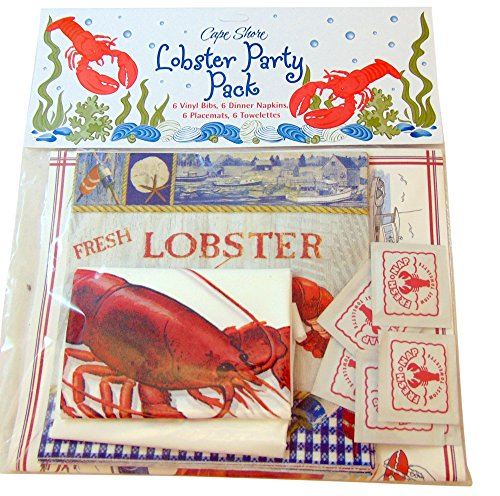 Lobster Crab Seafood Party Pack with 6 Bibs 6 Napkins 6 Placemats 6 Towelettes]()