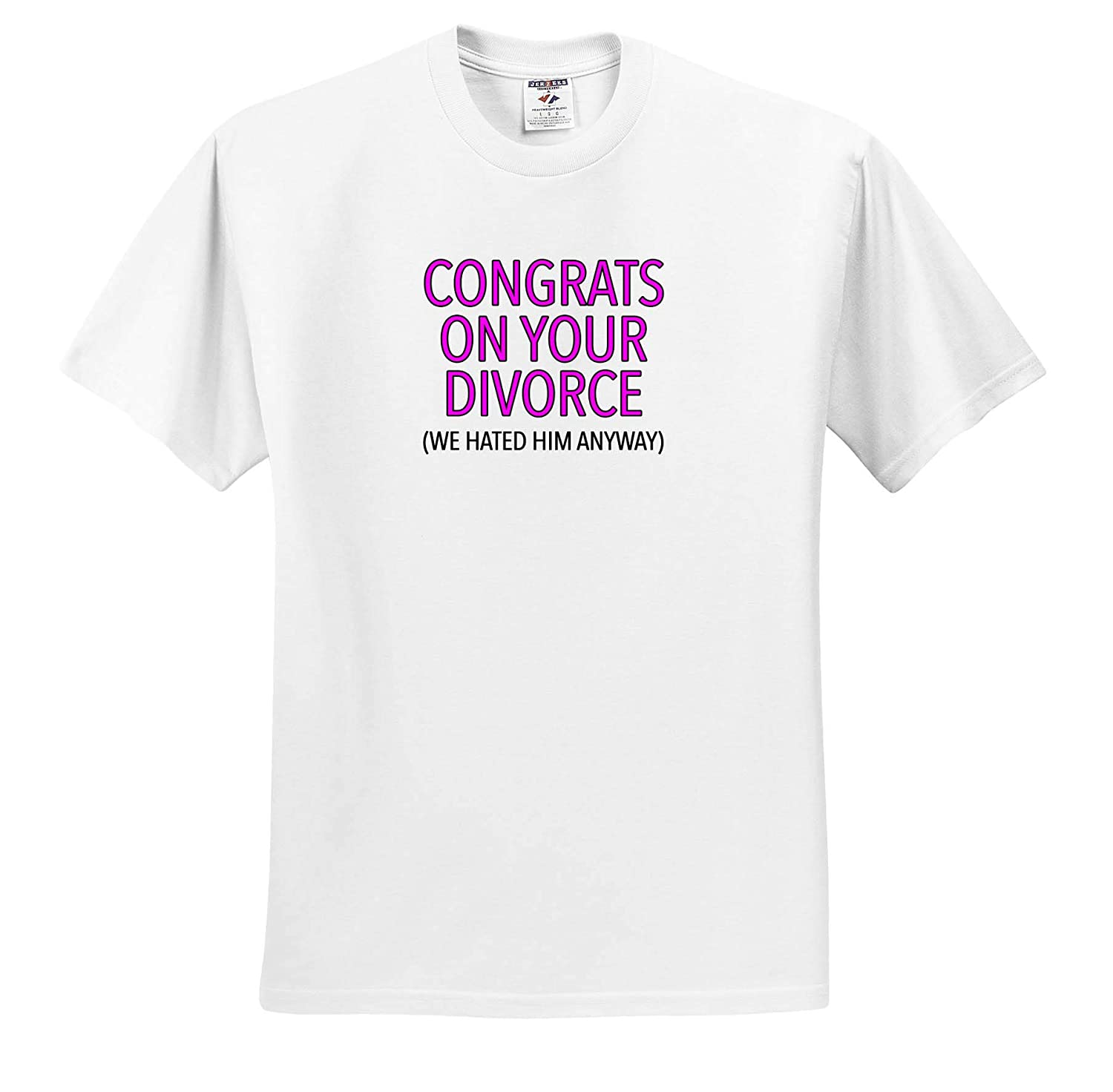 ts/_320973 3dRose EvaDane Adult T-Shirt XL Congrats On Your Divorce Pink Funny Sayings