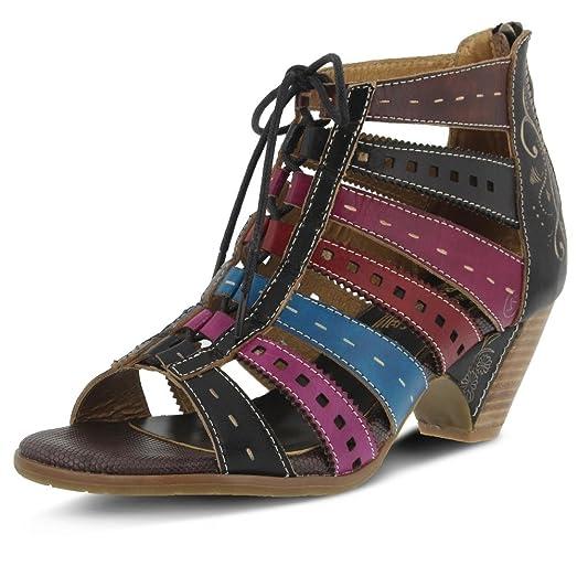 L'Artiste by Spring Step Women's Acra Ghillie Sandal,Black Multi Leather,EU