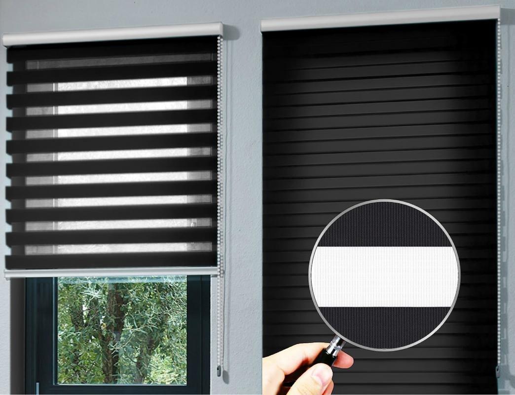 Estor noche y día enrollable PREMIUM (desde 40 hasta 250cm de ancho) con cajón de ALUMINIO blanco tejido color negro. Medida 206cm x 160cm para ventanas y ...