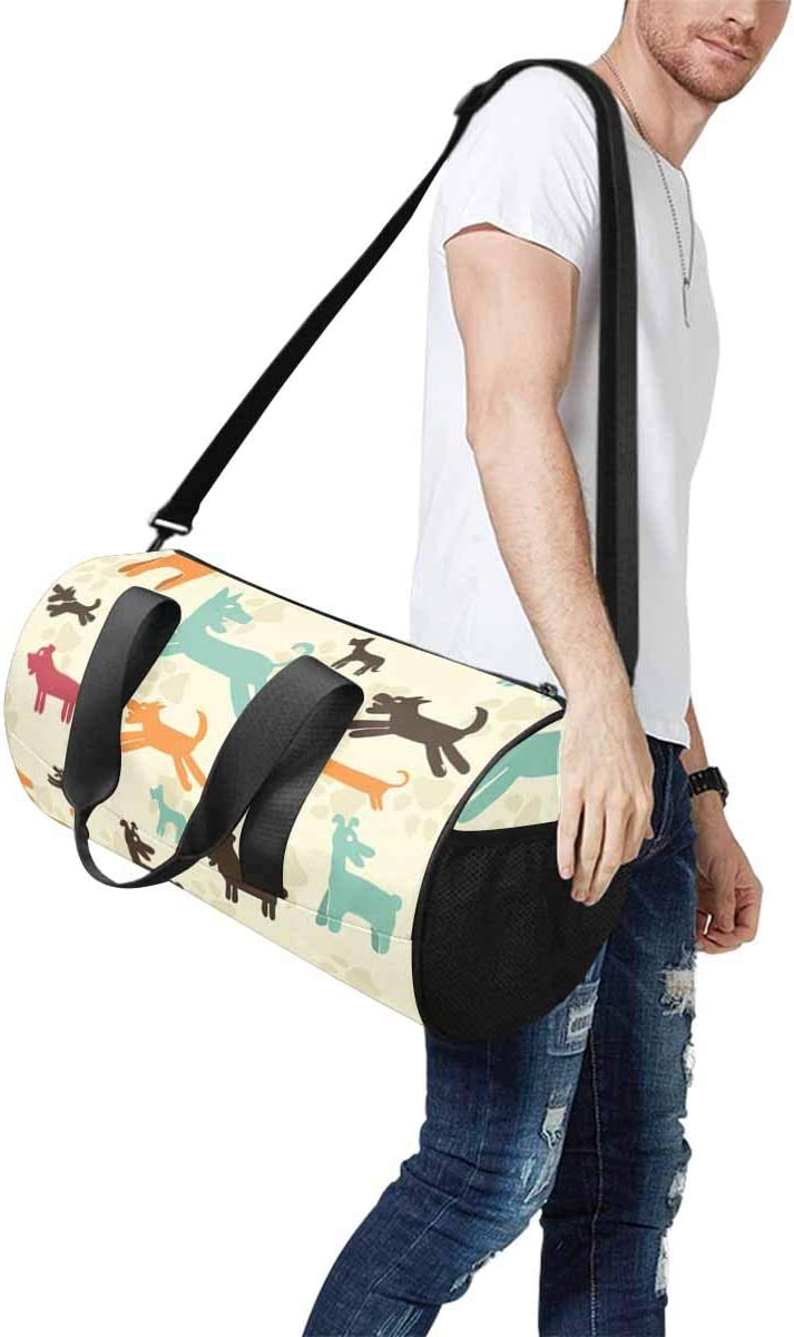 Sports Lightweight Luggage Duffel INTERESTPRINT Colorful Dog Paws Travel Duffle Bag