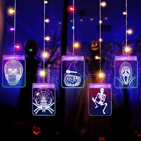 Cadena Cortina de Luces LED, Lypumso Tira Luminosa con 5 Placas con Patrones Halloween, Decoración Interior y Exterior, Alimentada por USB