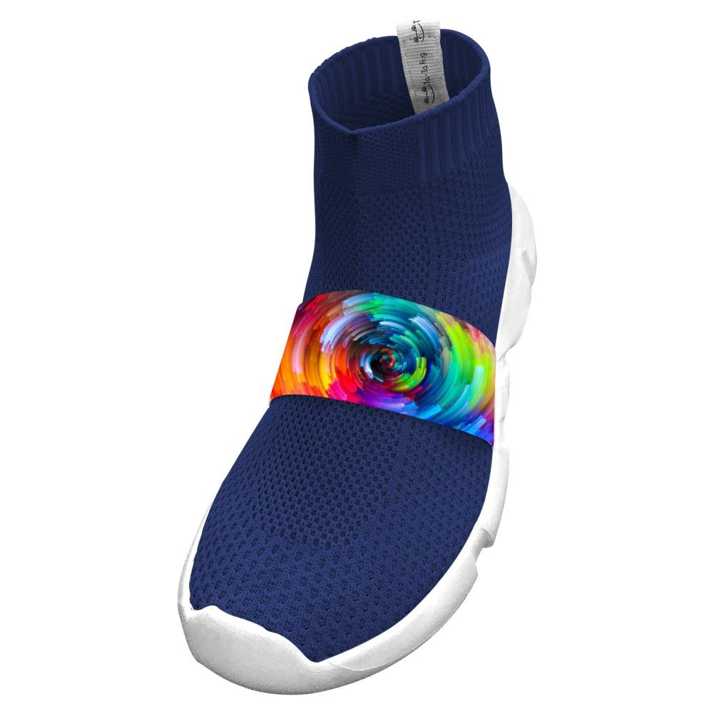 Fly Knit Lightweight Rainbows Circle Sports No Tie Shoes For Kids