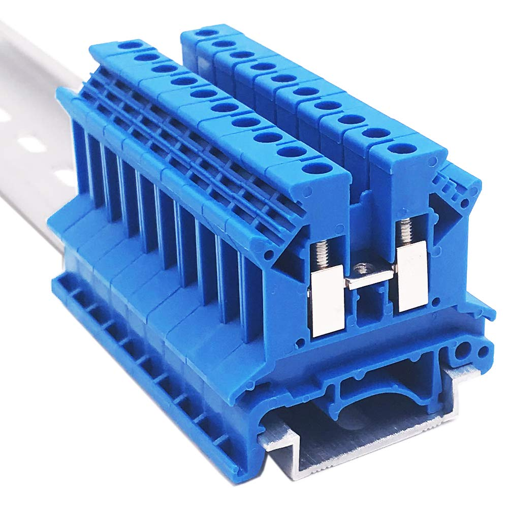 Erayco UK2.5N-BL DIN Rail Terminal Block, Screw Clamp, 600V 20A 24-12AWG, Pack of 100