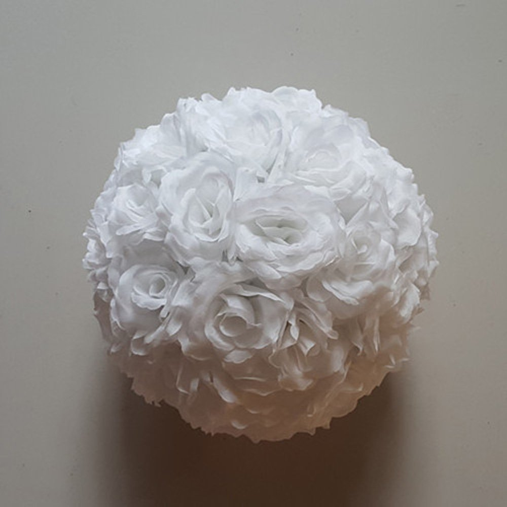 10 Pack 12 inch Artificial Rose Satin Pomander Kissing Balls for Home Wall Wedding Party Ceremony Decoration ,White