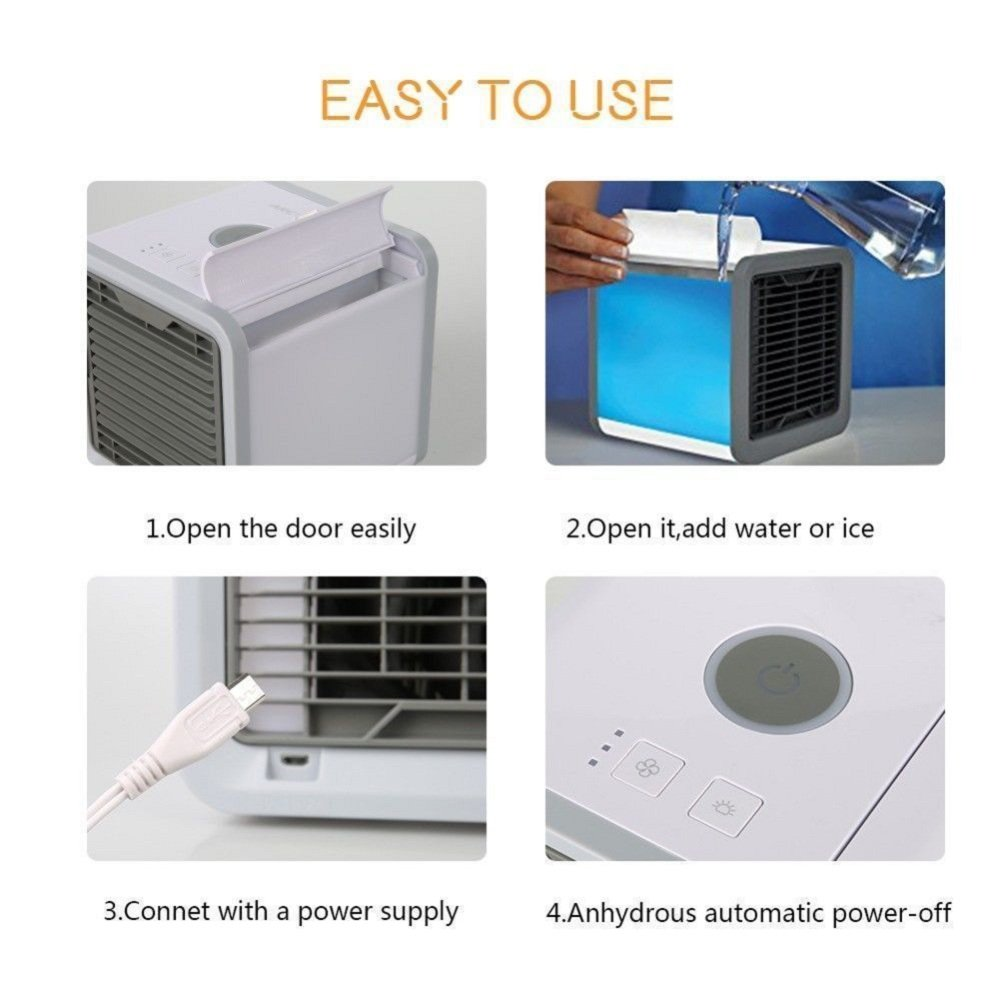 PONOBO Personal Space Air Coolers 4 in 1 USB Mini Portable Air Conditioner Cooling Humidifying and Purifying Air and 7 Colors LED Night Light 6.5 inches Desktop Cooling Fan for Office Home Outdoor by PONOBO (Image #4)