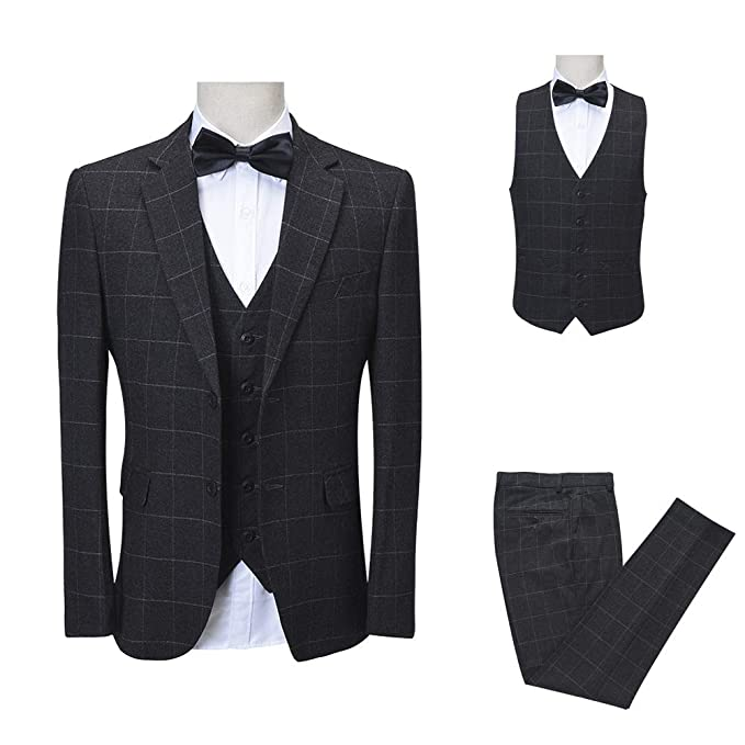 ceb264750b0d5a Vintage Navy Blue Dark Grey Tweed Wool Blend Men Suit 3 Pieces Slim Fit  Check Plaid Blazer: Amazon.ca: Clothing & Accessories