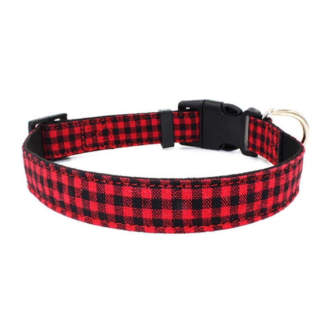 Red S 28-36CM Red S 28-36CM PET COLLAR HOME Link Pet Collar Microfiber Cloth Soft & Comfy Adjustable Breathable Plaid Striped Stars Necklace With Leash Hole Safety Collar For Pet Dogs (S 28-36CM, White)