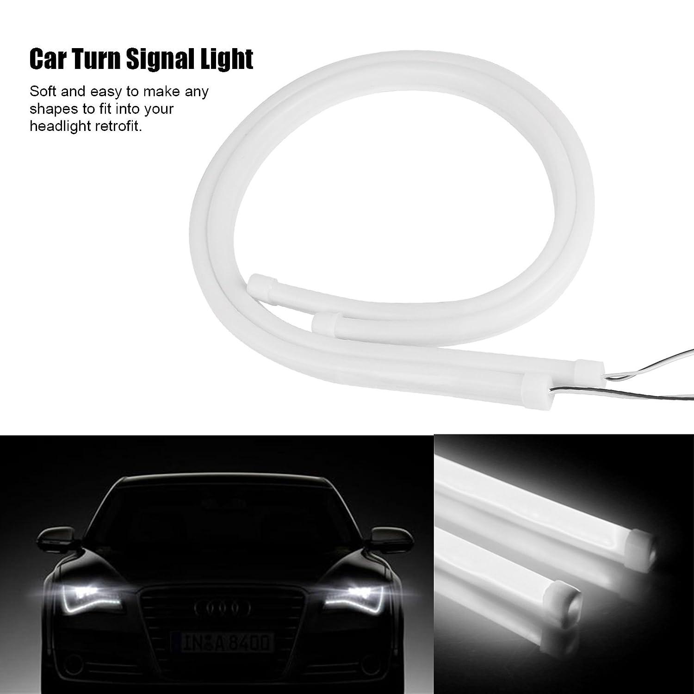 ONEVER 2pcs 60 cm 24 12V flexible de silicona de coches LED Franja tubo AUTO se?al de vuelta luz diurna DRL luz de freno blanco
