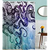 Goodbath Hookless Shower Curtain, Ocean Kraken Octopus Hipster Pattern Mold Free and Waterproof Fabric Bathroom Shower Curtains, 72 x 72 Inch , Purple Blue Teal