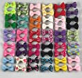 YAKA 60PCS (30 Pairs)Cute Puppy Dog Small Bowknot Hair Bows with clips,Handmade Hair Accessories Bow Pet Grooming Products (60 Pcs,Cute Patterns)