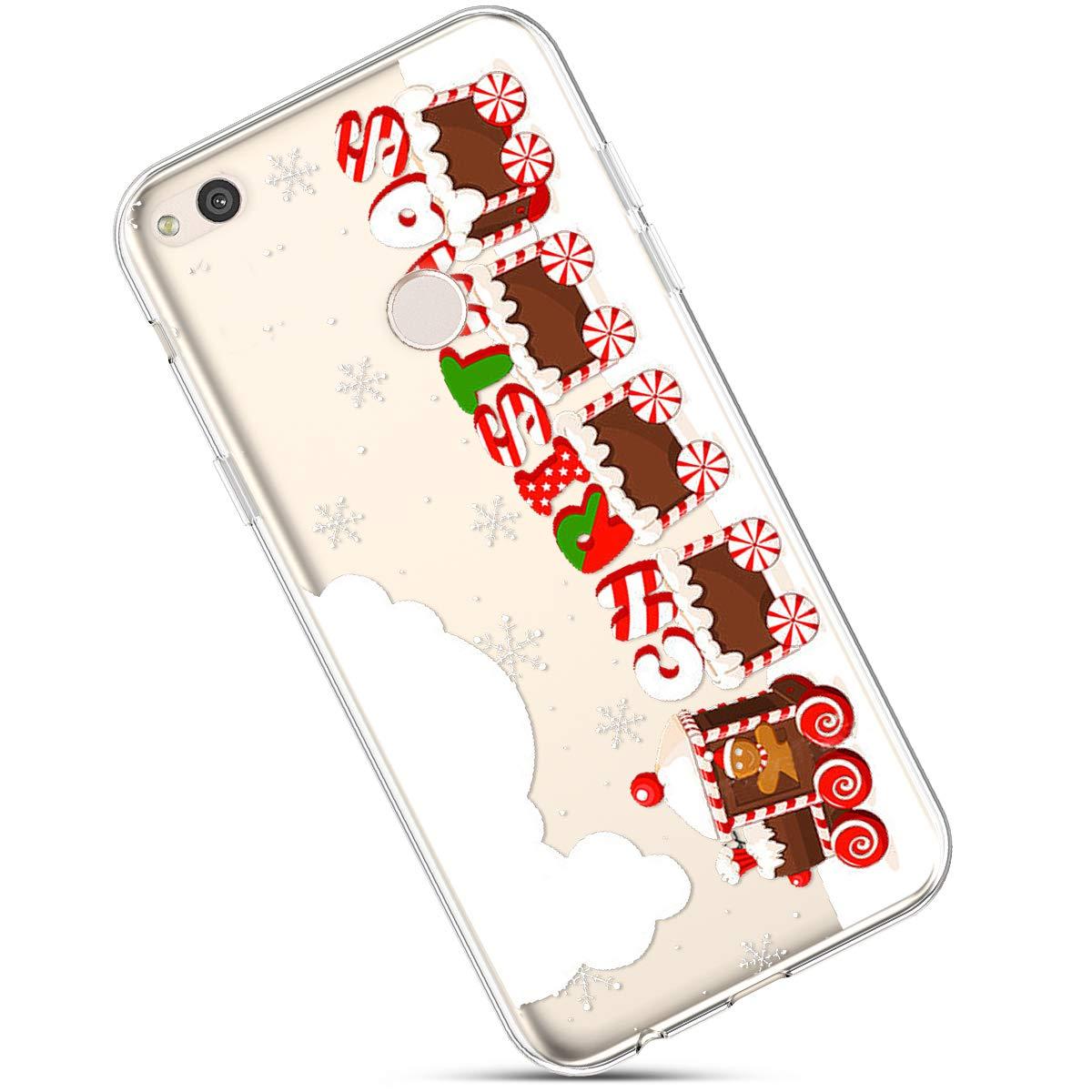 Clair Coque pour Huawei P8 Lite 2017, É tui Huawei P8 Lite 2017, Huawei P8 Lite Case Transparente Crystal Clear Souple Silicone Housse de Protection avec Motif Christmas De noë l Flocon de Neige Case Étui Huawei P8 Lite 2017 Okssud DYY201800253