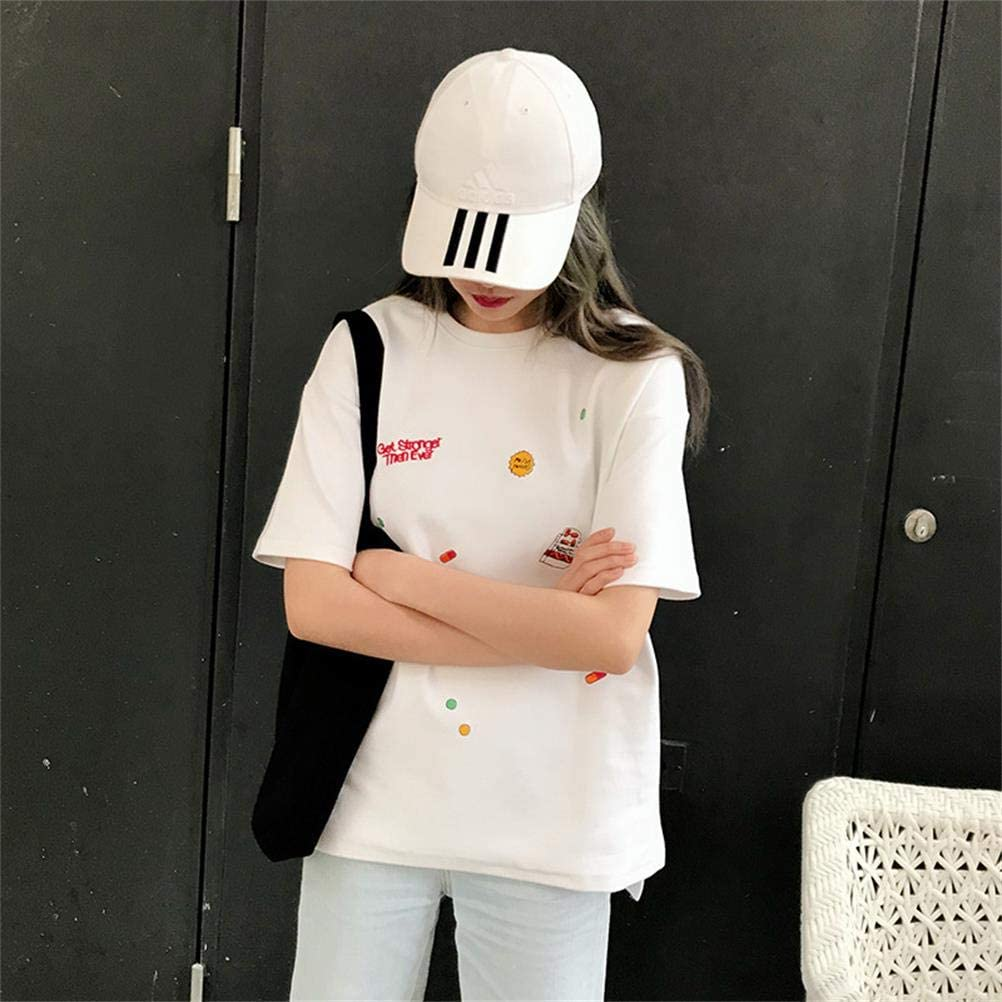 YAXAN Tops Outerwear Womens Cotton Acupuncture Loosely Fashionable Harajuku Four Seasons Everyday wear Tee Tops