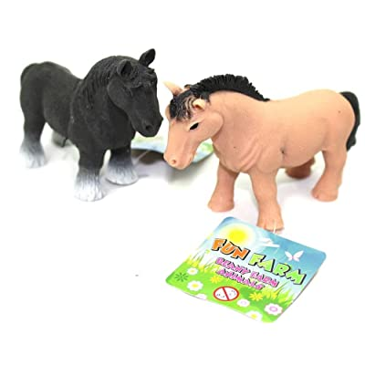 Carousel Rubber Stretchy Beany Farm Animal Stress Reliever Squishy Toy ~ Horse Colour Vary: Toys & Games