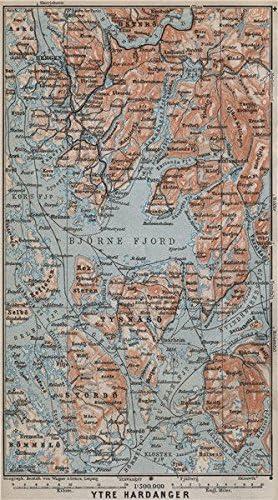 Norway kart Bergen Stordo BAEDEKER 1912 OUTER HARDANGERFJORD topo-map
