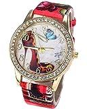DAYAN Diamant Fashion Colorful Flowers talon haut PU Quartz analogique cuir de femmes bracelet au poignet