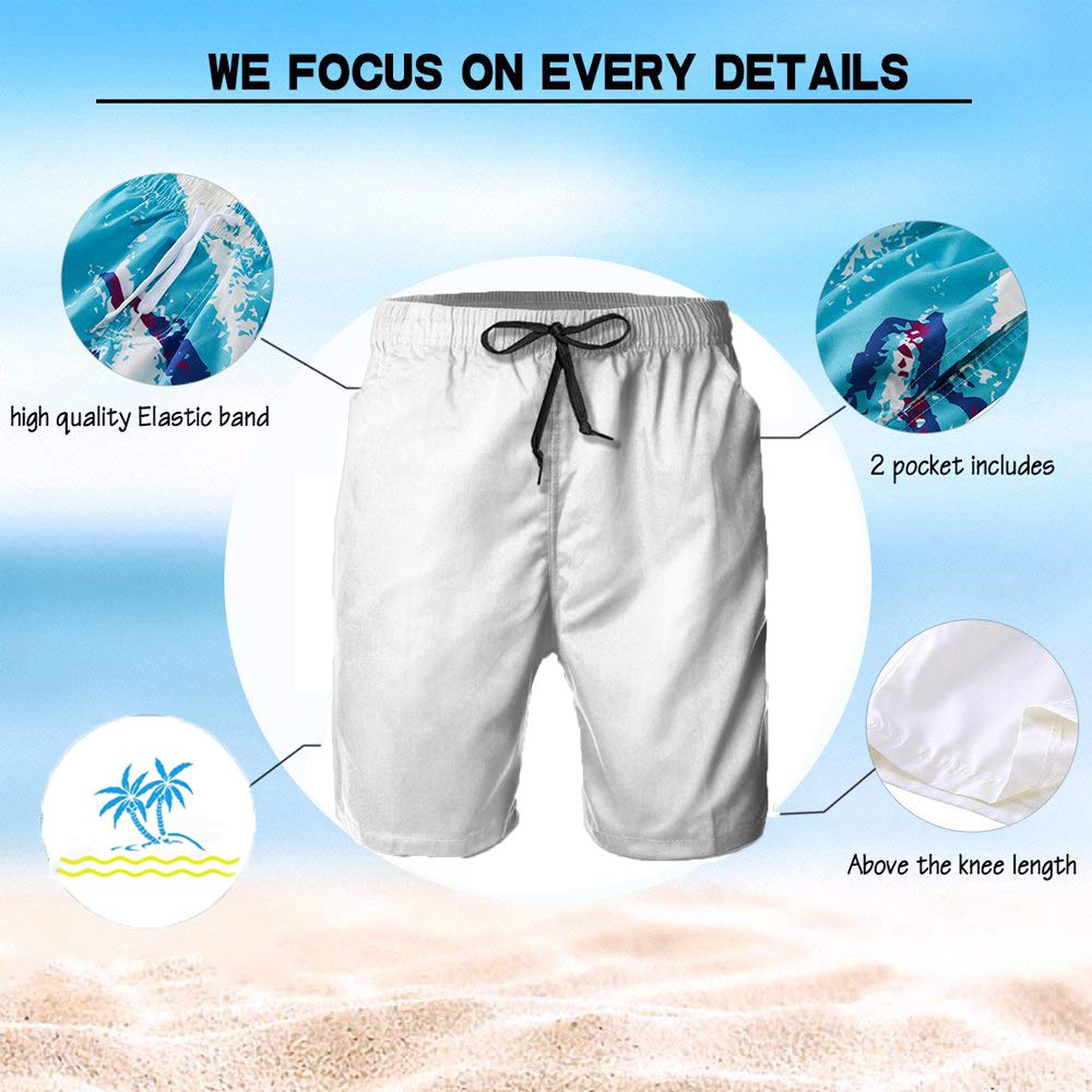 Mens Beach Swimming Trunks Japanese Origami Crane Swimsuit Swim Underwear Boardshorts with Pocket