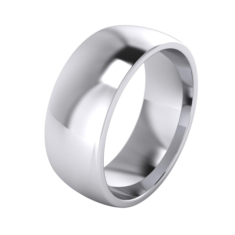 LANDA JEWEL Mens Sterling Silver 8mm Super Heavy Court Shape Polished Wedding Ring (10)