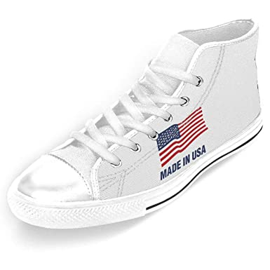 6e0a9aeade3fa Amazon.com: Man's High-Top Casual Sneakers Made In The USA Flag Lace ...
